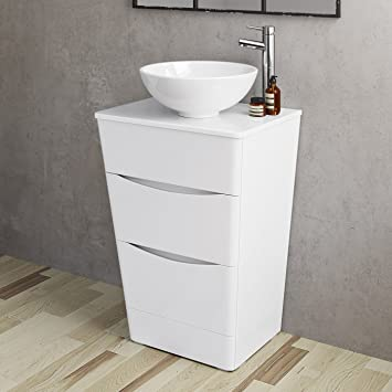 best value de49d 0a398 600mm Bathroom Furniture Countertop Vanity Unit & Basin Gloss White - Floor  Standing
