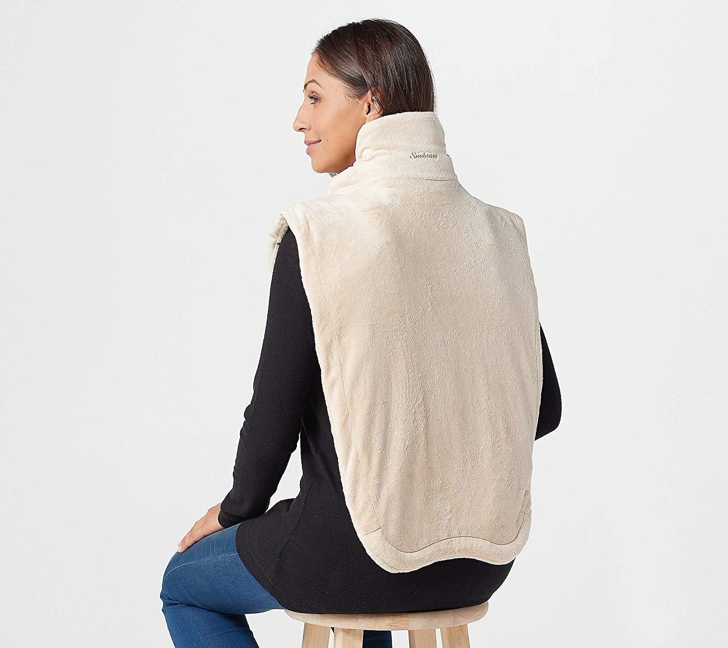 Sunbeam 2091105 Renue Extended Neck XXL Heat Wrap with Massage, Taupe