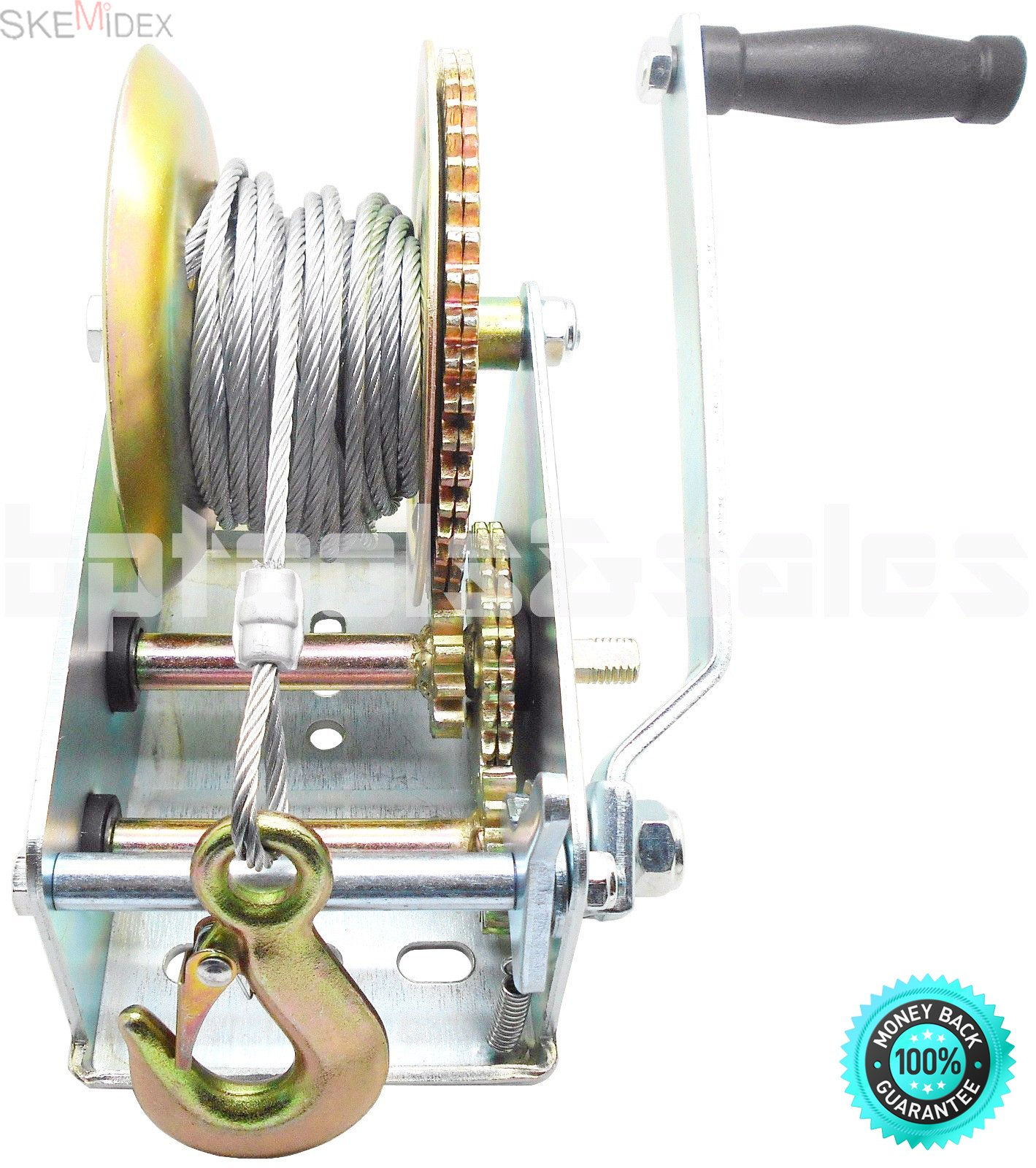 SKEMiDEX---3500lbs Dual Gear Hand Winch Hand Crank Manual Boat ATV RV Trailer 33ft Cable. Ideal for boat haulage or trailer mounting Conveniently drilled holes in base allow easy mouting