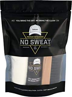 No Sweat Premium Hat Cleaner. Includes 4 OZ of Cleaning Solution, Microfiber Cloth,