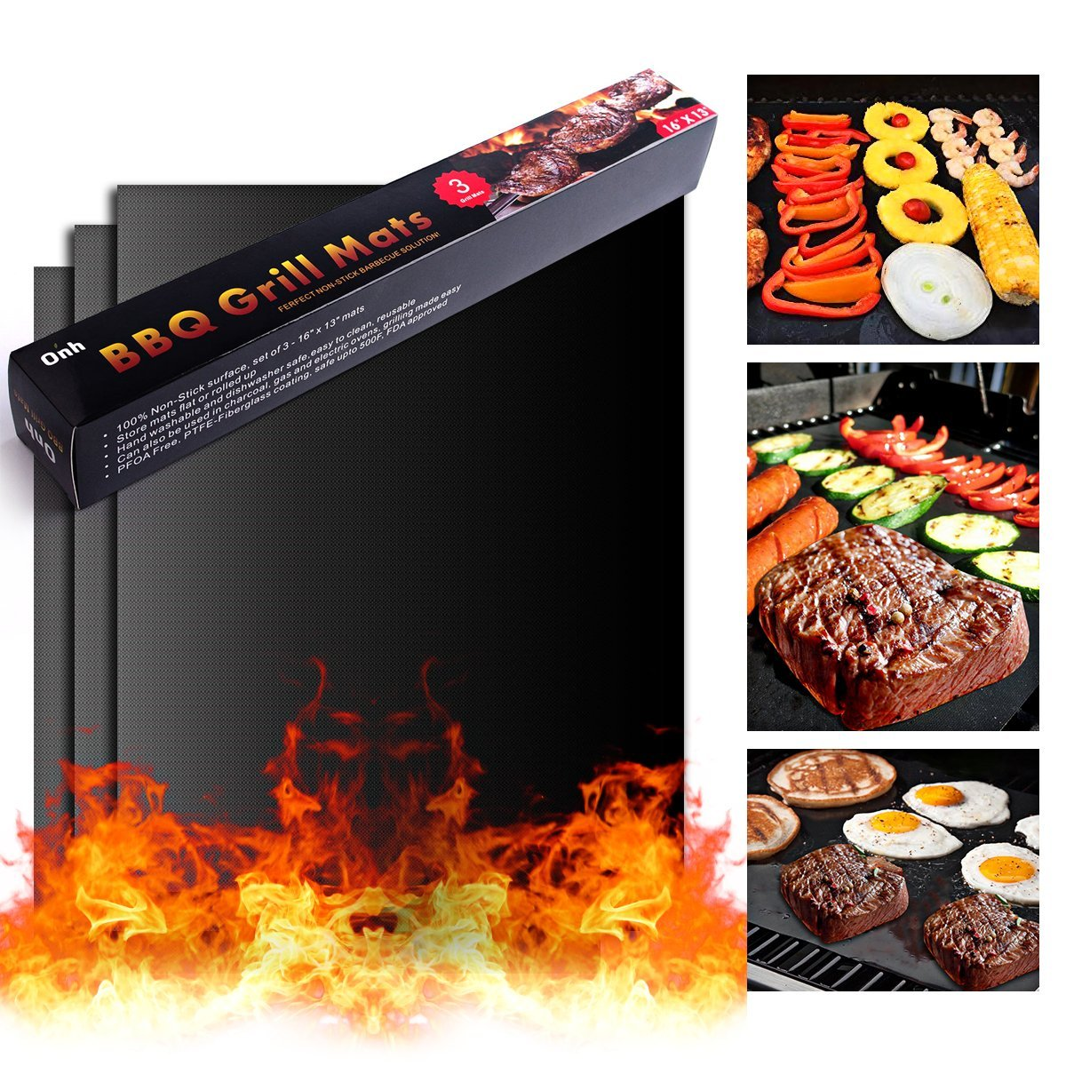 On'h BBQ Grill Mat - Set of 3 Heavy Duty Non-Stick for Ribs Shrimps Steaks Burgers Vegetables Reusable for Gas Charcoal Electric Grill Ovens Best Grilling Accessories