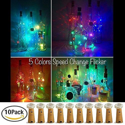 10 x 20 LEDs Guirnaldas luminosas Multicolor,SiFar 2M Lámparas de botellas, Tira de