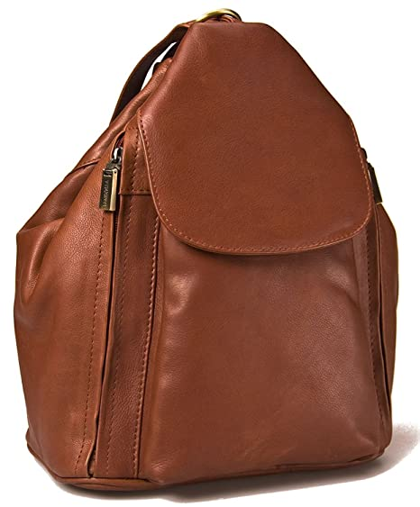 066ab74aef51 Visconti 18357 Medium Ladies Triangular Leather Backpack Rucksack Handbag ( Brown)  Amazon.co.uk  Clothing