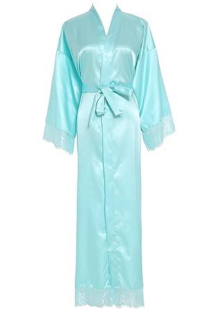 8978c497393 Owiter Women s Kimono Robe Long Lace Trim Bridesmaid Robes Bridal Robe  (Aqua Blue)