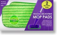Reusable Mop Pads Fit Swiffer WetJet - Washable Microfiber Mop Pad Refills by Turbo - 12 Inch Floor Cleaning Pads Fit Both D