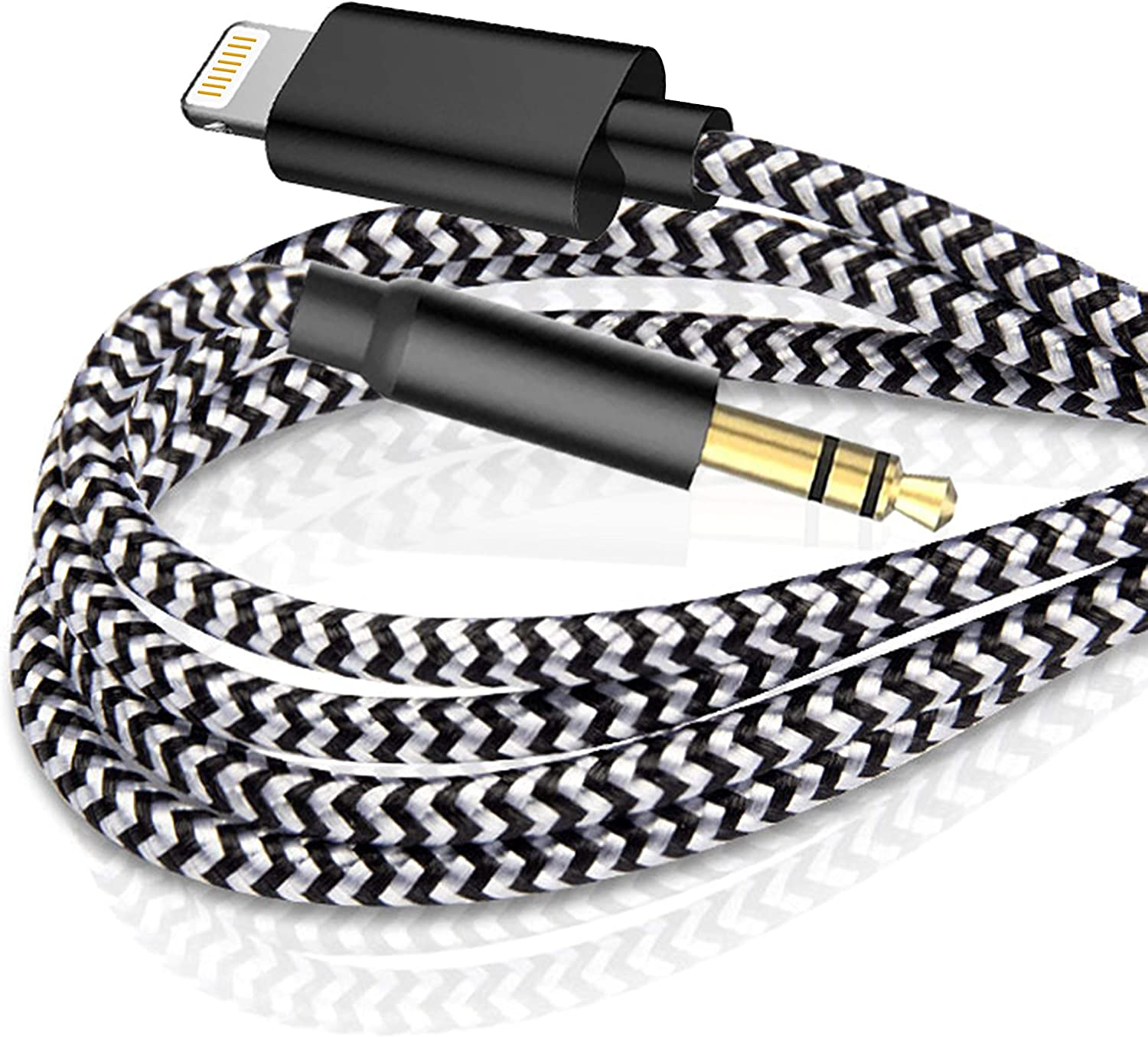 [Apple MFi Certified] iPhone Car Aux Cable, Lightning to 3.5mm AUX Audio Nylon Braided Cable Compatible for iPhone 12/12 Pro/XS/XR/X 11 8 7/iPod to Car/Home Stereo,Support All iOS System (3.3FT,Black)