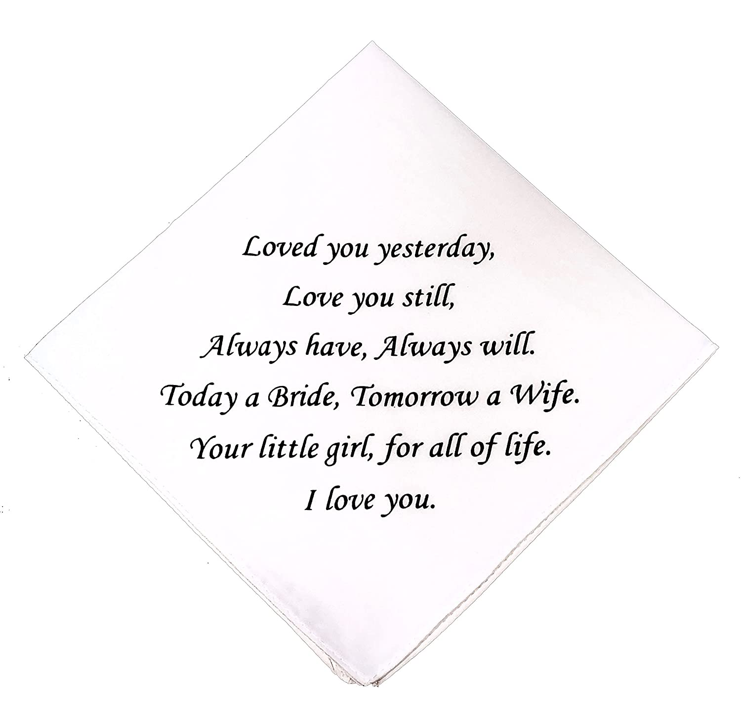 Father of the Bride Wedding Handkerchief by Wedding Tokens- Mother of the Bride Keepsake, Father of the Bride Keepsake- Wedding