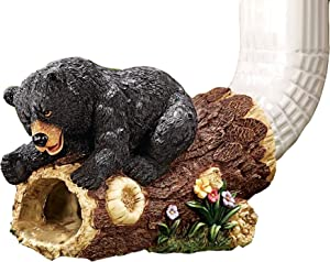 Cute Bear Gutter Downspout Extension, Handmade Outdoor Garden Statue Downspout Diverter, Hollow Tree Stump Design, Polyresin [Square Spout, Fitting downspouts up to 3