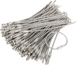 bayite Pack (100) Stainless Steel Wire Keychains Cable, Key Rings, Heavy Duty Luggage Tags Loops Tag Keepers 2mm Twist Barrel (Cable Length: 4.7 inches)