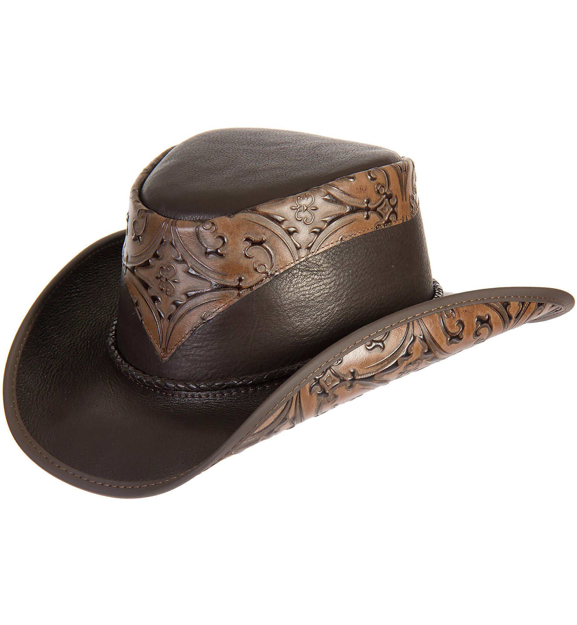 Overland Sheepskin Co Falcon Hand-Tooled Leather Cowboy Hat by Overland Sheepskin Co