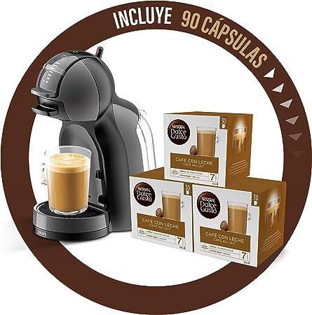 Pack Krups Dolce Gusto Mini Me KP1208 - Cafetera de cápsulas, 15 bares de presión, color negro y gris + 90 cápsulas de café Lungo: Amazon.es: Hogar
