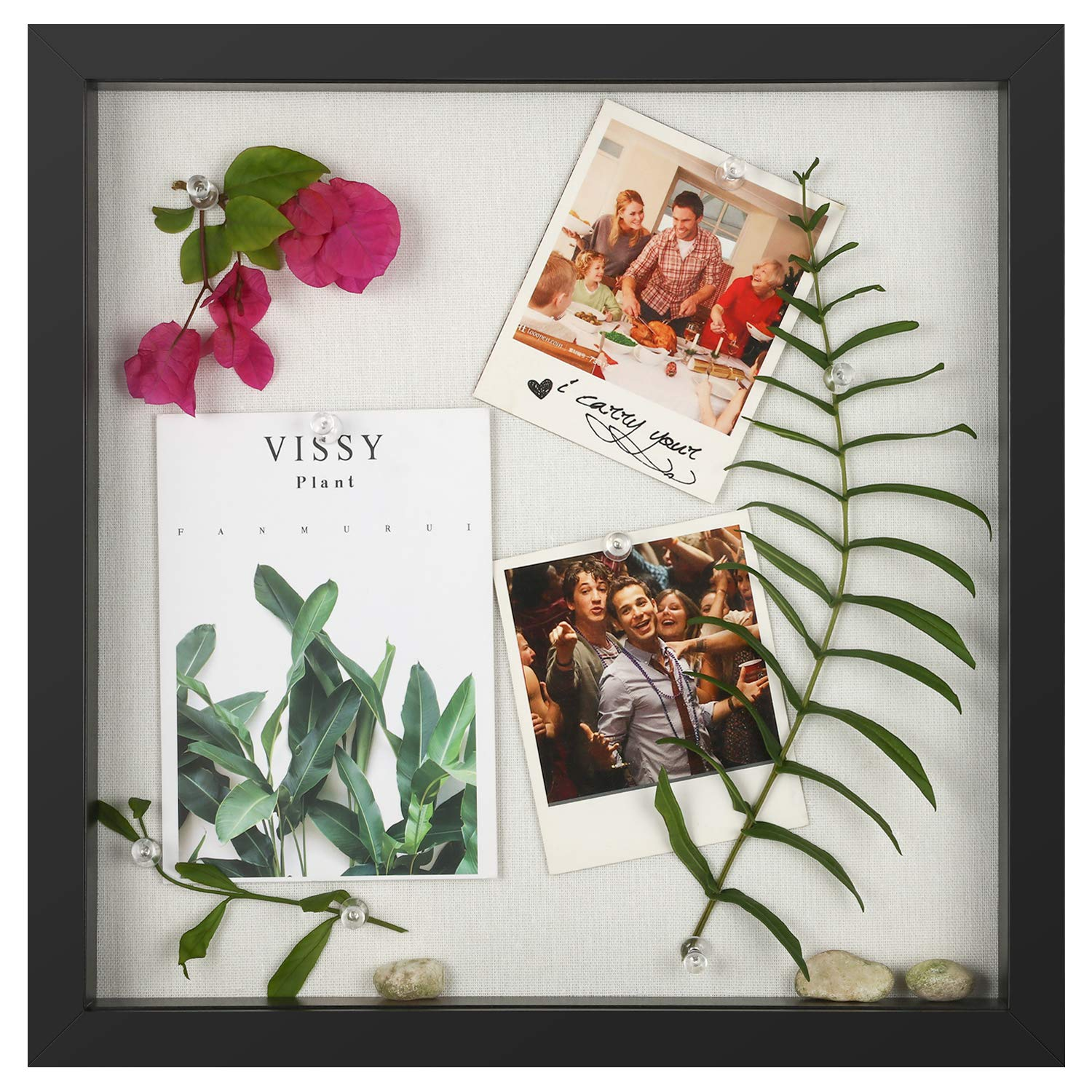 ONE WALL 11x11 Shadow Box Frame Display Case with Linen Back, Shadow Box Picture Frame for Photos, Tickets, Cards Display by ONE WALL