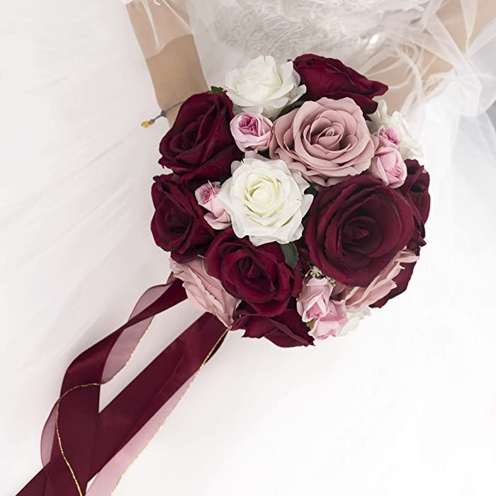 Abbie Home 9 inches Burgundy Rose Bouquet-Blush Pink White Blooming Rose Real Touch Bridal Wedding Flowers