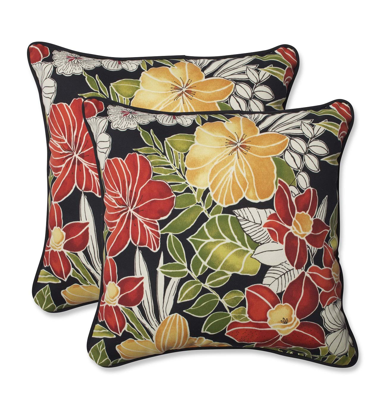 Amazon Com Set Of 2 Black Tropical Floral Pattern Square Outdoor