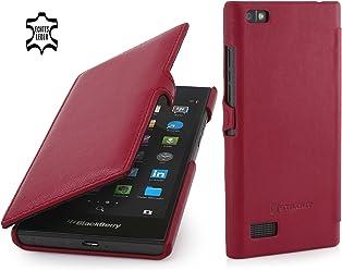 StilGut Book Type Case con Clip, Custodia in Vera Pelle per Blackberry Leap, Rosso - Nappa