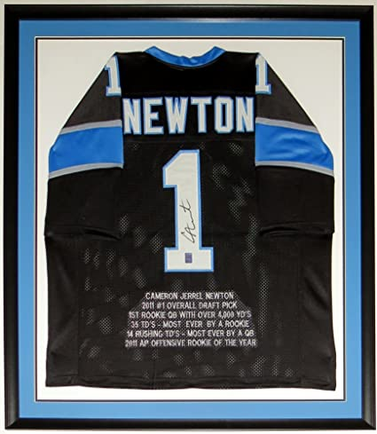 361627cf8 Cam Newton Signed Carolina Panthers Rookie of The Year Jersey - Cam Newton  Sticker COA Authenticated