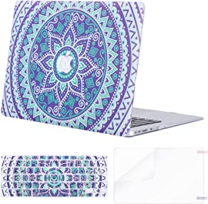 MOSISO MacBook Air 13 inch Case (A1369 & A1466, Older Version 2010-2017 Release), Plastic Pattern Hard Case&Keyboard Cover&Screen Protector Only Compatible with MacBook Air 13, Purple Mandala