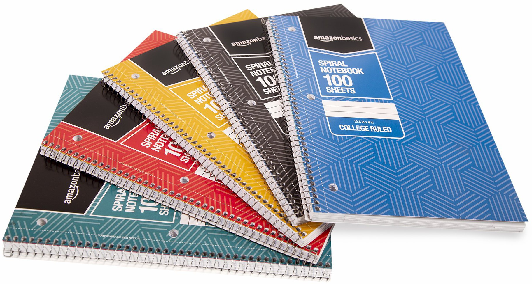 """Amazon Basics College Ruled Wirebound Spiral Notebook, 100 Sheet, Assorted Sunburst Pattern Colors, 5-Pack                Five Star Spiral Notebooks, 1 Subject, College Ruled Paper, 100 Sheets, 11"""" x 8-1/2"""", Teal, Lime, Gray, 3 Pack (73053)                Moleskine Classic Notebook, Hard Cover, Large (5"""" x 8.25"""") Ruled/Lined, Black, 240 Pages                Amazon Basics Classic Lined Notebook, 240 Pages, Hardcover - Ruled                Pocket Notebook Small Notebook 2-Pack, 3.5"""" x 5.5"""" pocket notebook hardcover Total 400 Pages Thick Lined Paper with Inner Pockets Leather Mini Journal Notepad"""