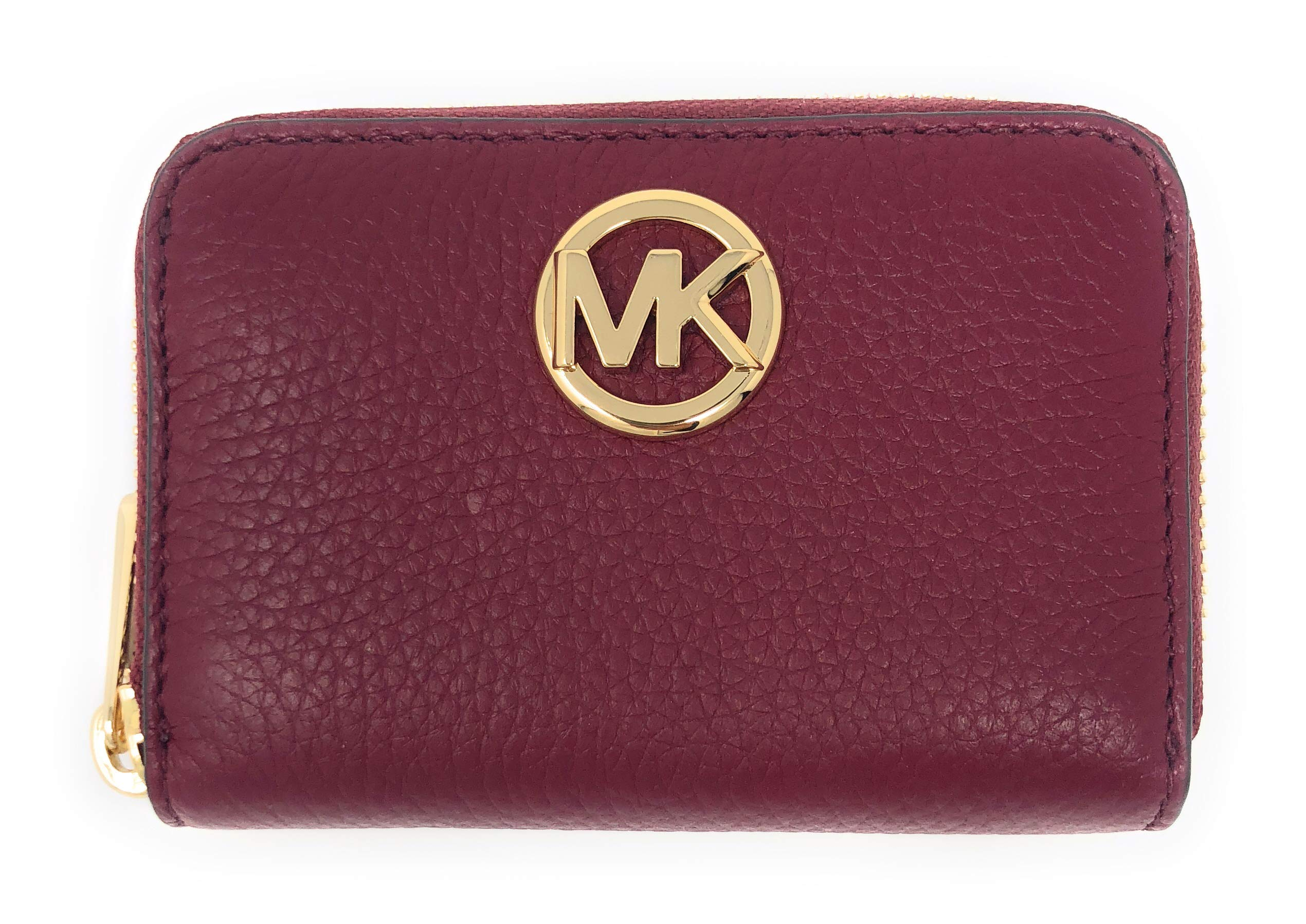 Michael Kors Fulton Leather Zip Around Coin Case (Mulberry Red) by Michael Kors