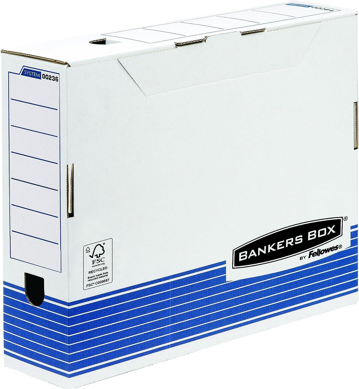 Fellowes Bankers Box 00236 - Caja de archivo definitivo automático, A3, lomo 100 mm, blanco y azul (10 unidades): Amazon.es: Oficina y papelería
