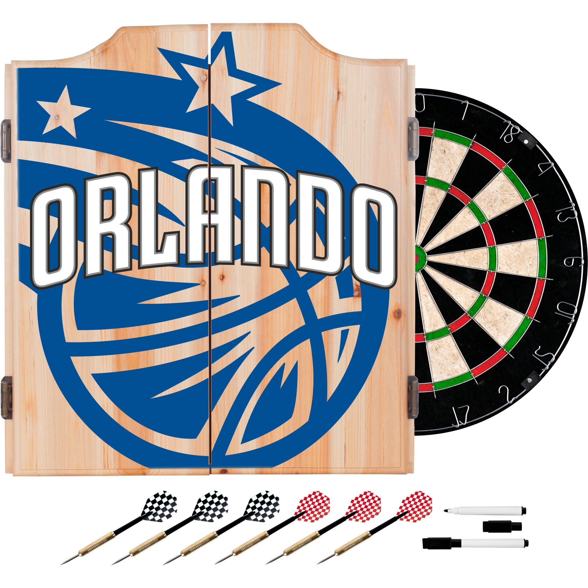 Trademark Gameroom NBA7010-OM2 NBA Dart Cabinet Set with Darts & Board - Fade - Orlando Magic