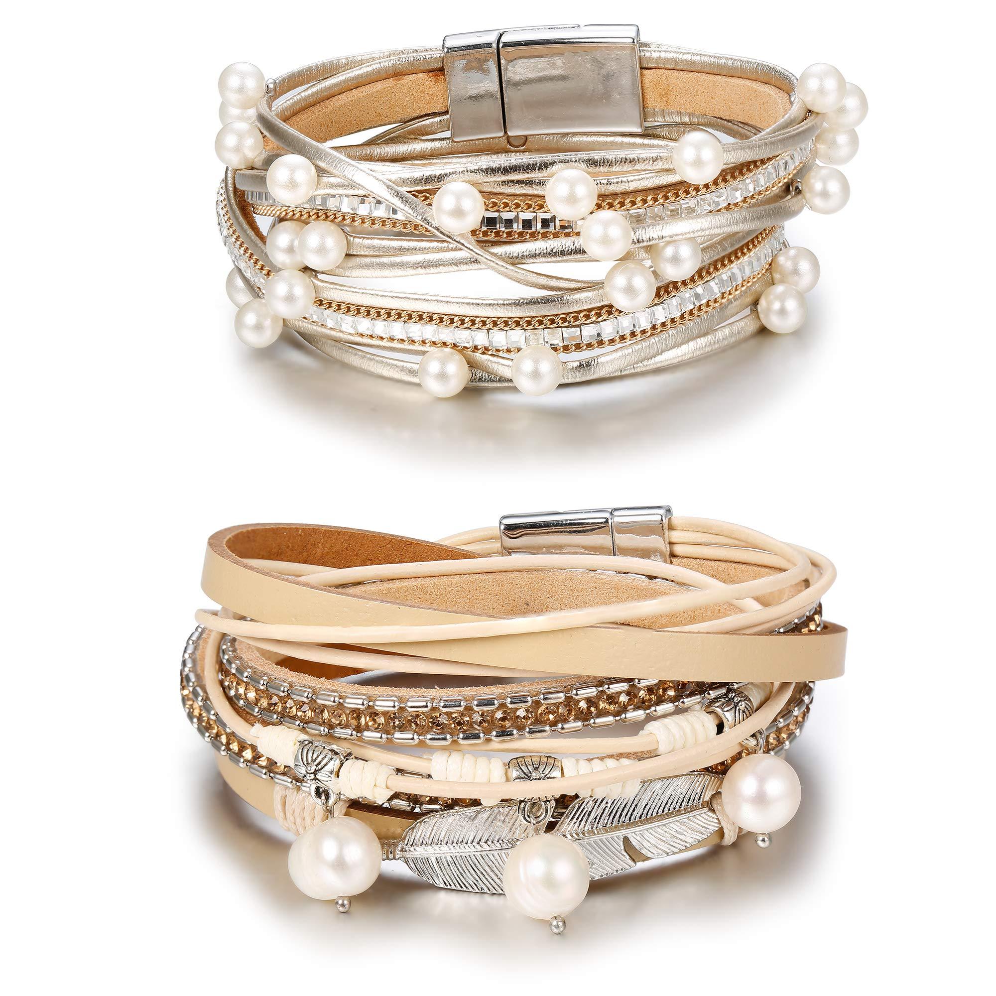 Hanpabum 2Pcs Multilayer Leather Wrap Bracelets Women Girls Boho Magnetic Clasp Bangle Bracelets Set (A)
