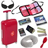 Doll Travel Suitcase with Open and Close Carry on Luggage, Ticket, Passport and 12 Accessories - Travel Set for 18 Inch Dolls
