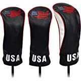 USA Golf Head Covers for Driver & Fairway Woods - Premium Leather Headcovers, Designed to Fit All Woods and Drivers