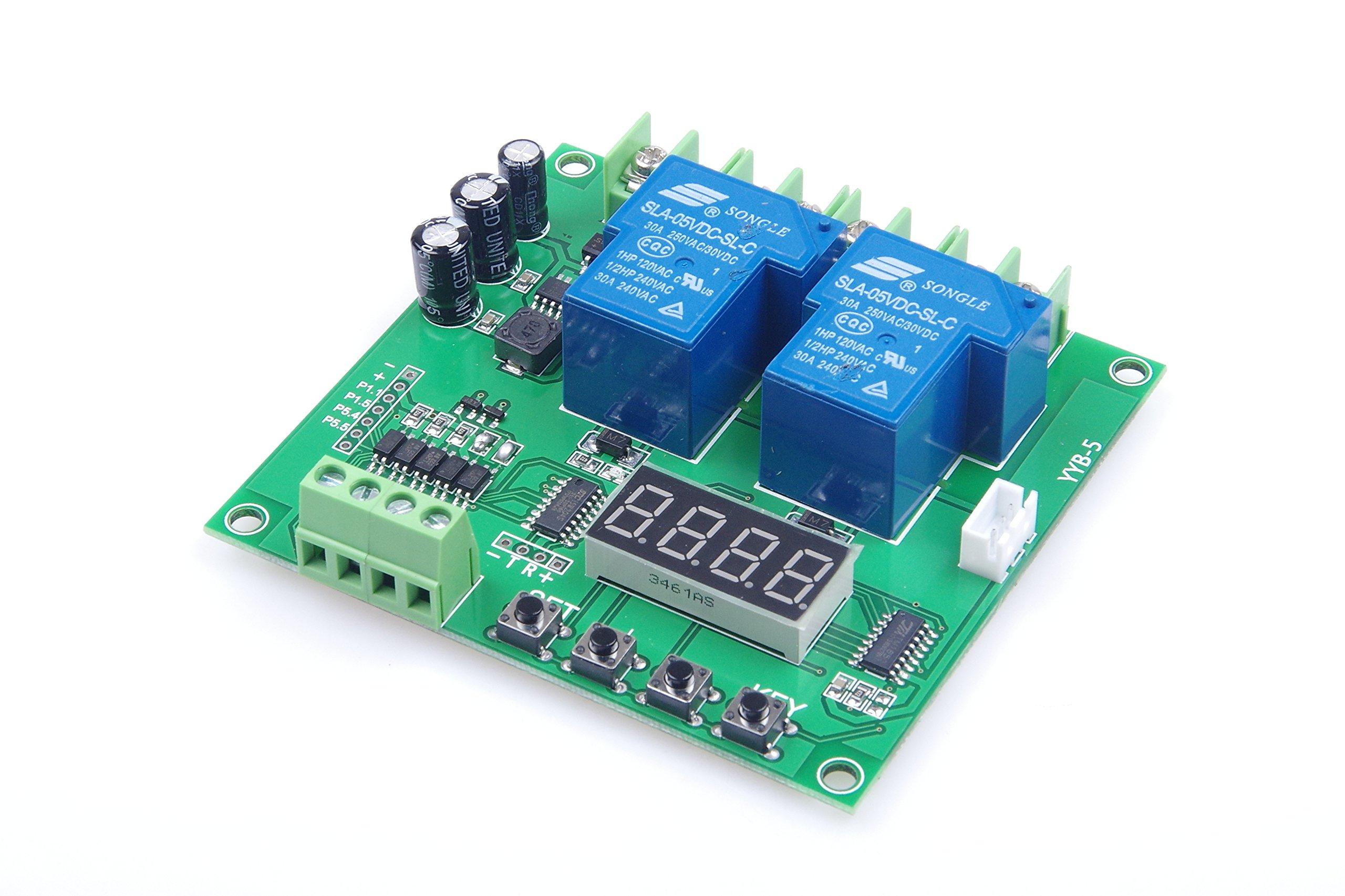 YAVO 2-Channel Motor Forward Reverse Relay Control Module AC / DC 12V 24V (7V-27V) 30A 0.1s-999 min Adjustable Digital Display Suitable for the control of 2-way solenoid valve, pumps, motors, lights