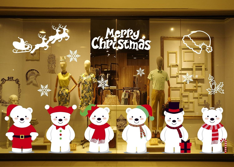 Tuopuda Natale Vetrofanie Adesivi Murali Decorazione Natale Adesivi Vetro Finestra (Orso) Tuopuda-TN-2018092503A