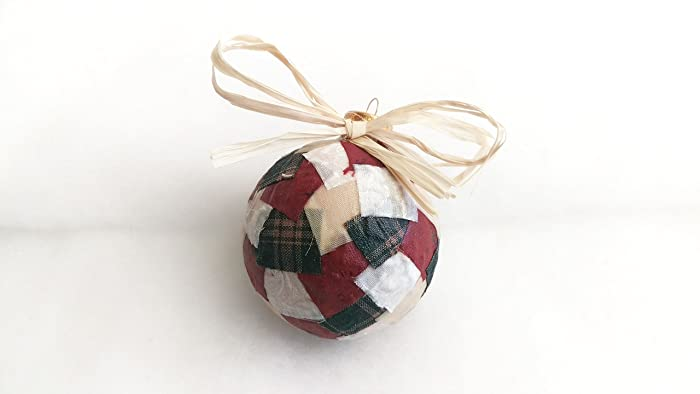rustic red and green christmas ornament plaid christmas decor 3 inch diameter fabric and