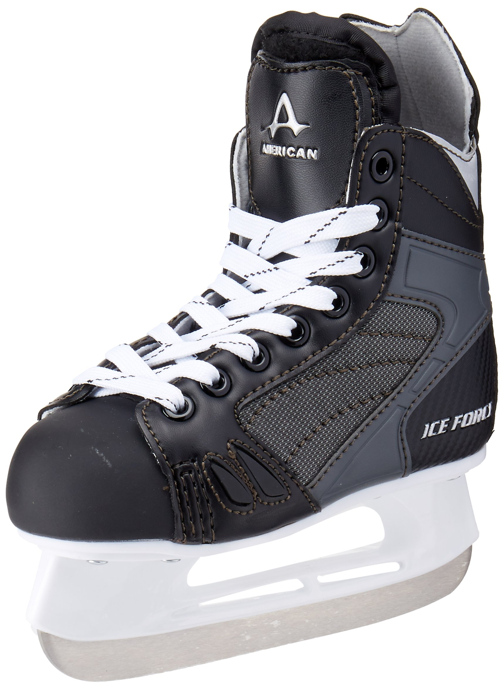 American Athletic Shoe Boy's Ice Force Hockey Skates, Black, 1 Y