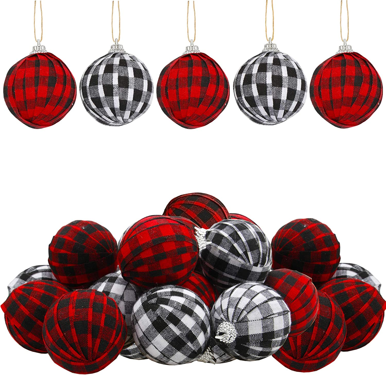 AMAZING TIME 16 Pieces Christmas Hanging Oranment Buffalo Plaid Fabric Ball for Christmas Tree Decor Party Supplies Decoration, 2 Styles