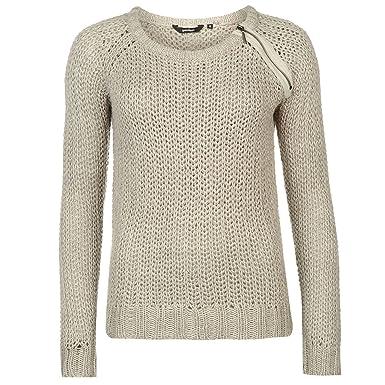 7d0aa28ebb Golddigga Womens Zip Shoulder Knit Jumper Sweater Pullover Long Sleeve Crew  Neck Soft Grey 14 (