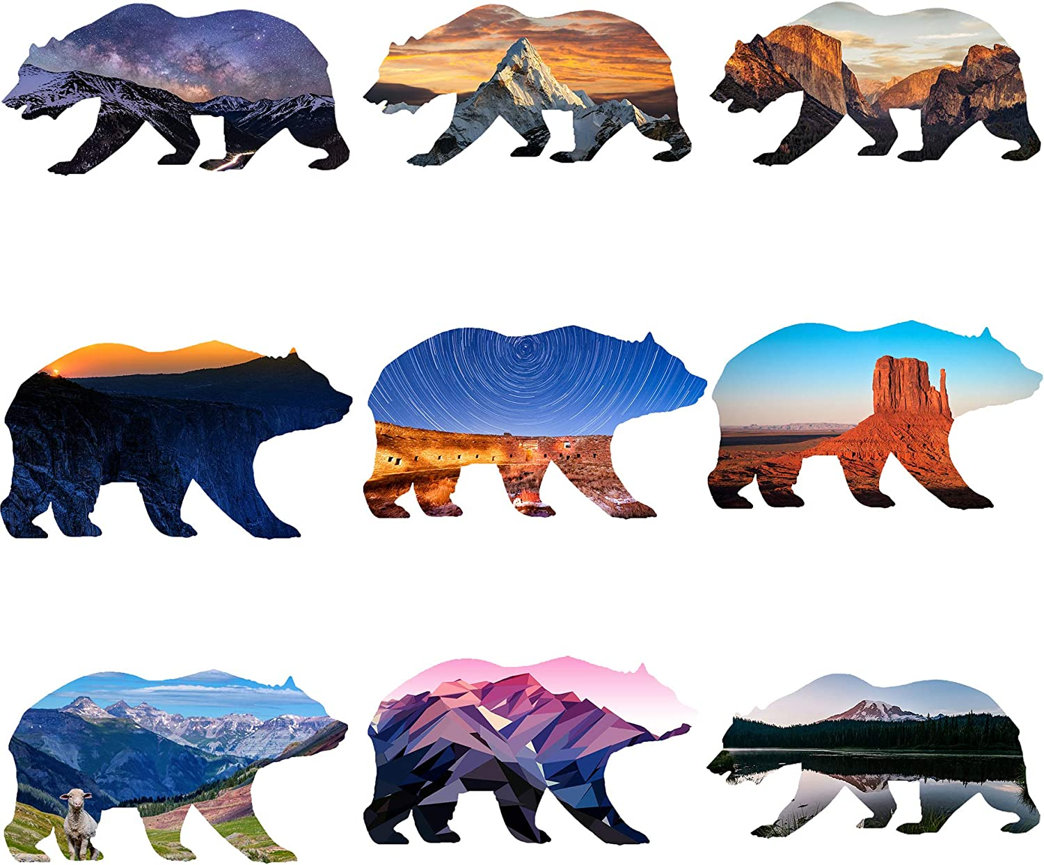 "GTOTd Stickers Outdoor Wilderness Bear(9PCS). Vinyl Decal 4x4'' Sticker - Laptop, Phone,Bumpers,Waterbottle Stickers Pack (4"" Wide - A Beautiful Unique Design)"