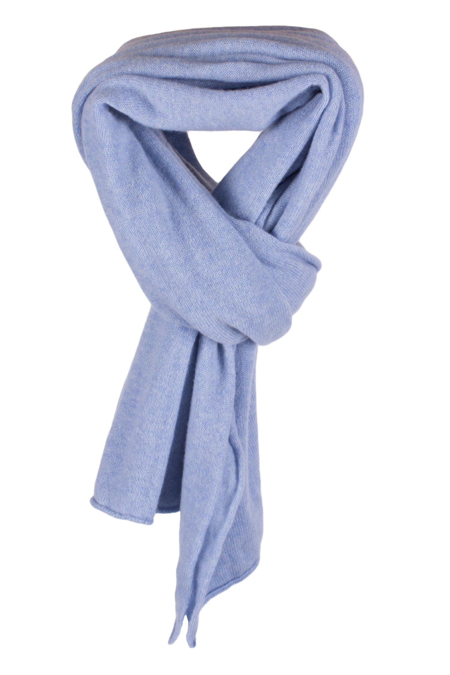 Ladies 100% Cashmere Wrap Scarf - Sky Blue - hand made in Scotland by Love Cashmere