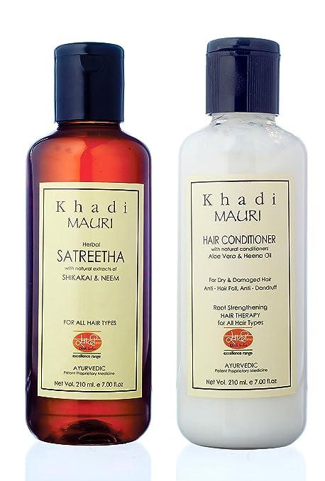 KHADI MAURI Combo of Anti Hairfall Satreetha Shampoo and Herbal Hair  Conditioner, 210ml Each - Pack of 2