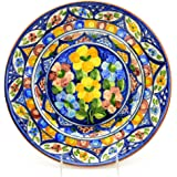 Hand-Painted Decorative Plate for Home Decor, Vibrant Red, Blue, and Yellow, Medium