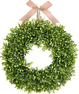 Greenery Boxwood Wreath - Munora 18 inches Farmhouse Summer Front Door Wreath Spring Wreaths for Front Door - Welcome Home Hanging Wreath Wall Party Wedding Decor