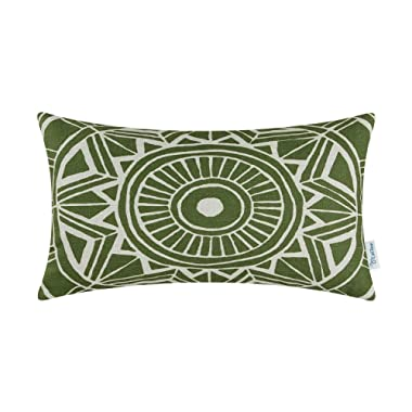 CaliTime Canvas Bolster Pillow Cover Case for Couch Sofa Home Decoration Modern Compass Geometric 12 X 20 Inches Olive Green