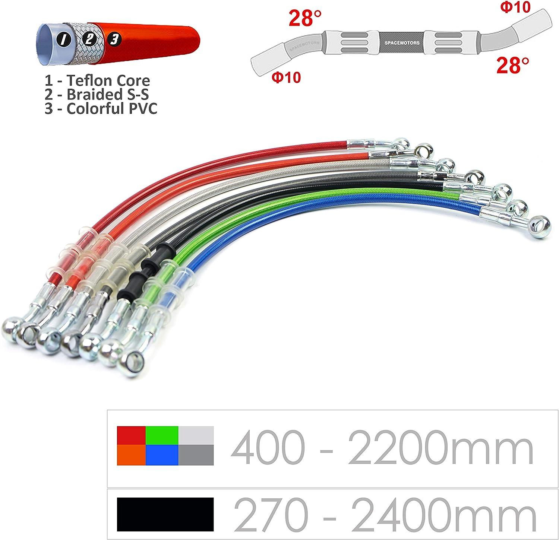 Noir Ligne de tuyau de tube de tuyau de frein hydraulique tress/é 10mm trou 400-2200mm Black //900mm