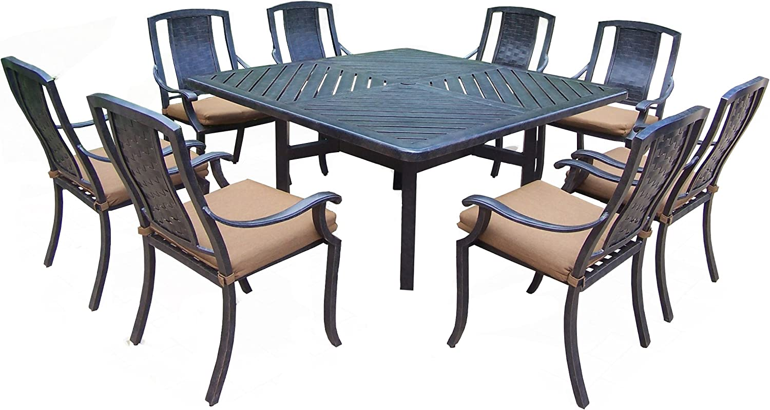 Oakland Living Vanguard 9-Piece Furniture Set with 60 by 60-Inch Square Table and 8 Sunbrella Cushioned Stackable Chairs