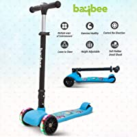 Baybee SPEEDFORCE 3 Wheel Folding Kick Kids Scooty Scooter Tricycle for Indoor & Outdoor Fun with Brake-LED Skate Scooter for Kids with Adjustable Height Age 3-12 Years-Capacity 40 kg