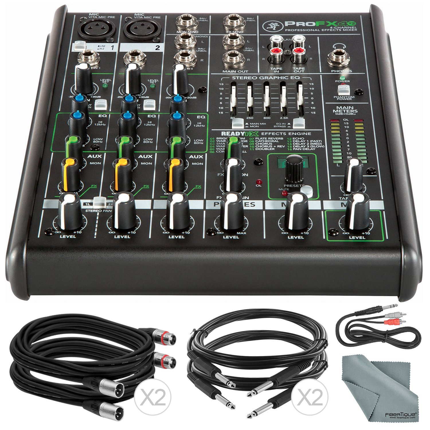 Mackie PROFX4V2 4-Channel Compact Mixer with Built-in Effects and Basic Bundle with Fibertique Cloth and 5X Cables