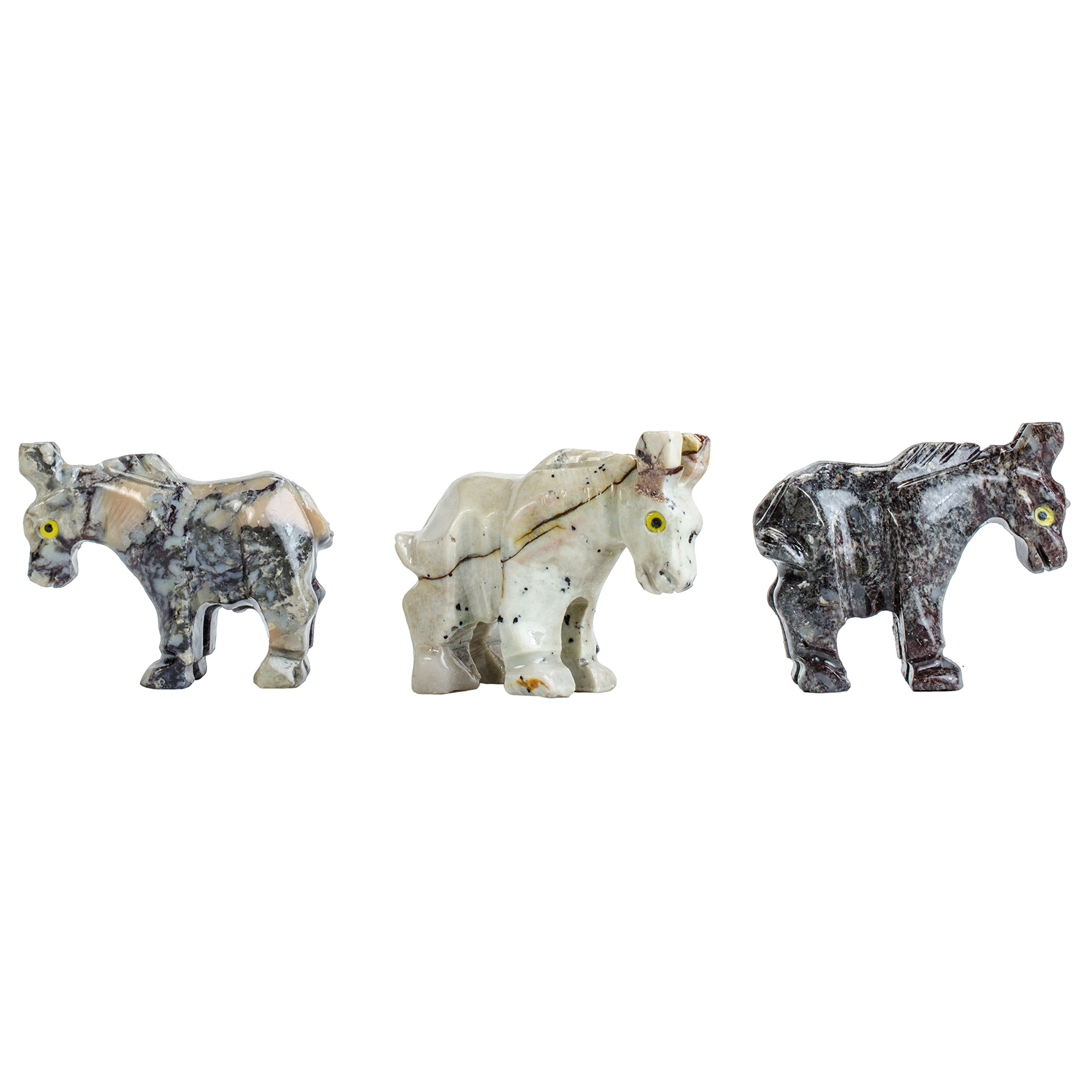 Fantasia Creations: 30 pcs Donkey Soapstone Animal Figurine - Hand Carved by Fantasia's Master Artisans for Party Favors, Collecting, Wire Wrapping, Gifts and More!