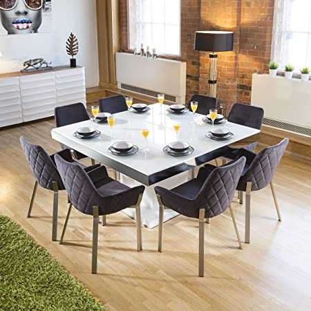 e5553933a6d3 Avant Garde Large Square White Glass Gloss Dining Table +8 Dark Grey Carver  Chairs: Amazon.co.uk: Kitchen & Home