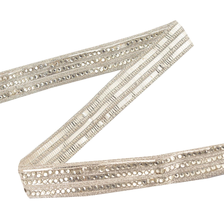 BridalMary Hand Beaded Bridal Dress Border 1 YD Trim Silver Craft Lace Sewing Rhinestones Sanskriti NL-389