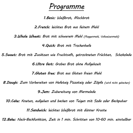 Panificadora 1250 G | 12 programas