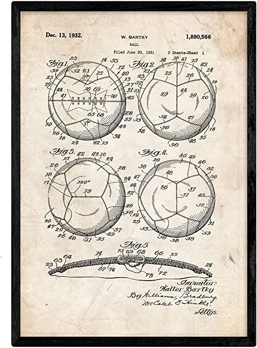 Nacnic Poster con patente de Balon de futbol. Lámina con diseño de ...