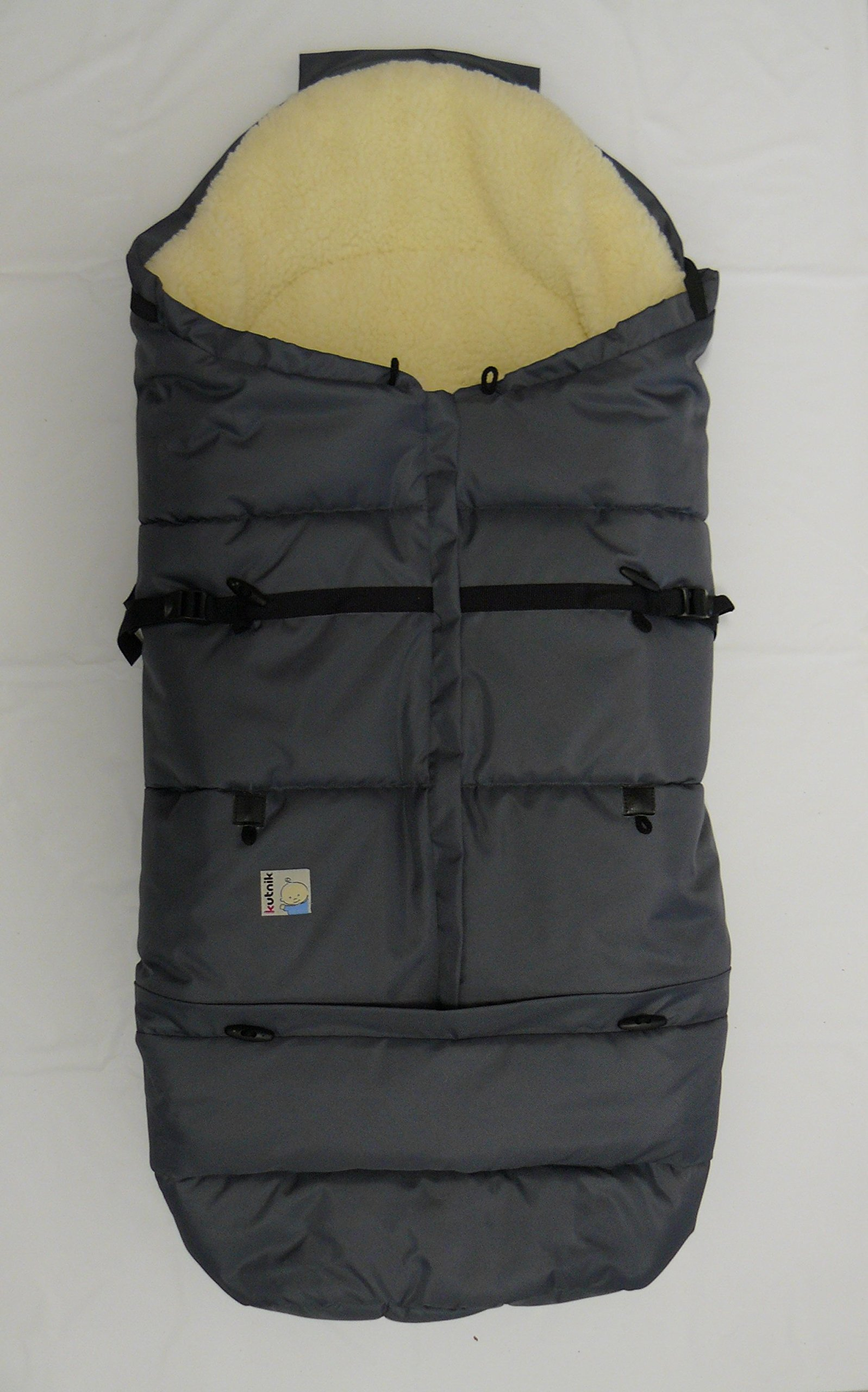 Kutnik UNIVERSAL FOOTMUFF/SLEEPING BAG COCOON ''BARAN'' with sheep's wool (GRAPHITE) by KUTNIK
